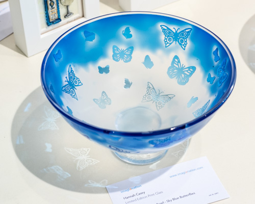 Handmade Glass Bowl - Sky Blue Butterflies