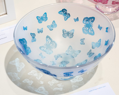Handmade Glass Bowl - English Blue Butterflies