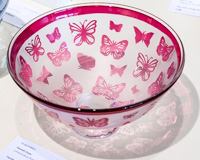 Handmade Glass Bowl - Strawberry Pink Butterflies