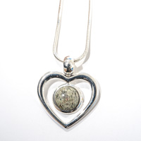 Lizard Serpentine Heart Pendant on Chain
