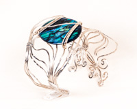 Large Blue Paua Shell Rippling Tide Cuff Bracelet