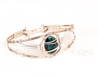 Green Paua Shell Filigree Bracelet (Gold Fill)