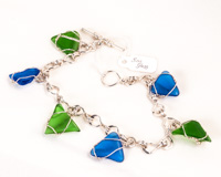 Green/Blue Sea Glass Charm Bracelet