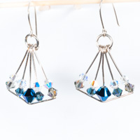 Dark Blue Swarovski Crystal  Chandelier Earrings