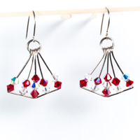 Red & Clear Swarovski Crystal  Chandelier Earrings