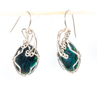Green Paua Shell Cabochon Earrings