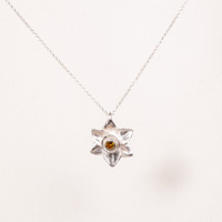 Soleil D'Or Narcissus Flower Pendant Yellow Topaz
