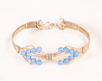 Chalcedony Silver & Gold-fill  Bow Shaped Bracelet