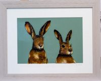 Double Hares  - The Giant ones, Soft brown frame